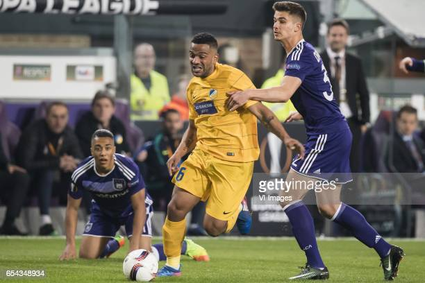 Youri Tielemans of RSC Anderlecht Lorenzo Ebecilio of Apoel FC Leander Dendoncker of RSC Anderlechtduring the UEFA Europa League round of 16 match...