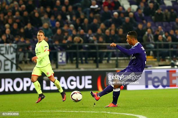 Youri Tielemans of RSC Anderlecht scores his team's third goal during the UEFA Europa League Group C match between RSC Anderlecht and 1 FSV Mainz 05...