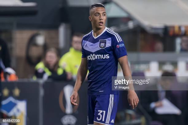 Youri Tielemans of RSC Anderlechtduring the UEFA Europa League round of 16 match between RSC Anderlecht and APOEL on March 16 2017 at Constant Vanden...