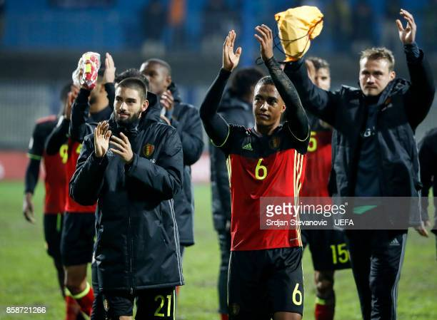 Youri Tielemans Yannick Carrasco and goalkeeper Simon Mignolet of Belgium celebrate after the FIFA 2018 World Cup Qualifier between Bosnia and...