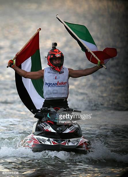 Yousef Al Abdulrazzaq of Kuwait celebrate winning the Runabout GP1 final during the Aquabike Class Pro Circuit World Championships Grand Prix of...