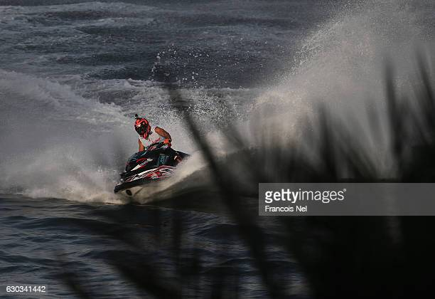 Yousef Al Abdulrazzaq of Kuwait race in the Runabout GP1 final during the Aquabike Class Pro Circuit World Championships Grand Prix of Sharjah at...