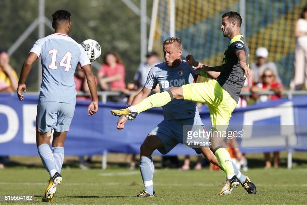 Youssef Ait Bennasser of AS Monaco Kamil Glik of AS Monaco Gaston Pereiro of PSV during the friendly match between AS Monaco and PSV Eindhoven at...