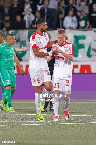 Youssef Ait Bennasser of Nancy and Alexis Busin of Nancy celebrates scoring his goal during the Ligue 1 match between AS NancyLorraine and AS...