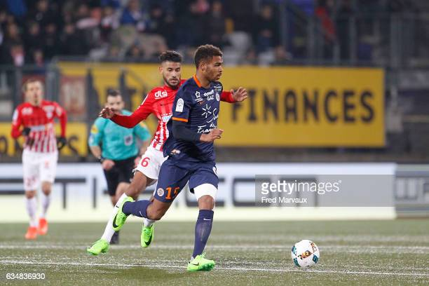 Youssef Ait Bennasser of Nancy and Steve Mounie of Montpellier during the Ligue 1 match between As Nancy Lorraine and Montpellier Herault at Stade...
