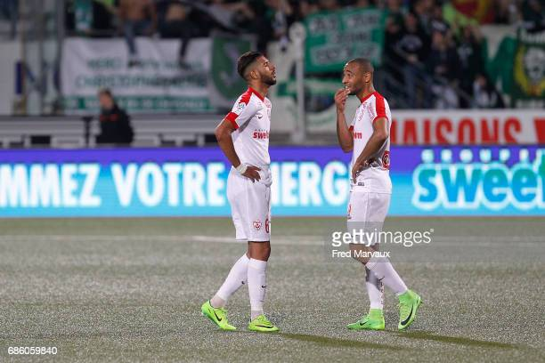 Youssef Ait Bennasser of Nancy and Tobias Badila of Nancy look dejected at the end of the game during the Ligue 1 match between AS NancyLorraine and...