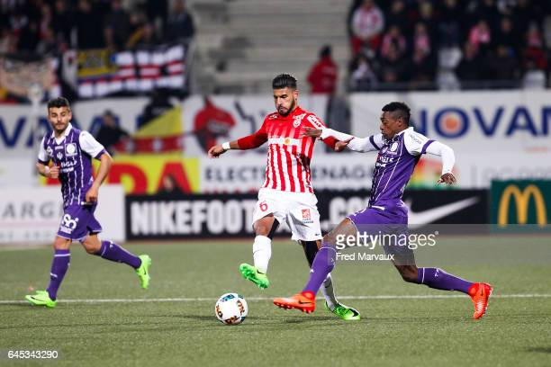 Youssef Ait Bennasser of Nancy and Wergiton Somalia of Toulouse during the French Ligue 1 match between Nancy and Toulouse at Stade Marcel Picot on...