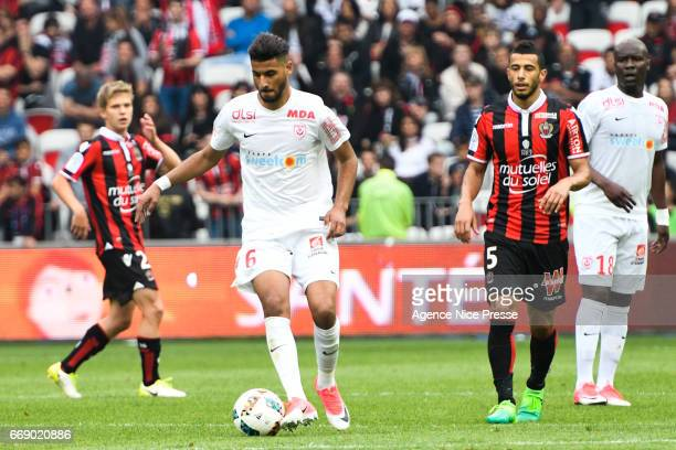 Youssef Ait Bennasser of Nancy during the Ligue 1 match between OGC Nice and As Nancy Lorraine at Allianz Riviera on April 15 2017 in Nice France
