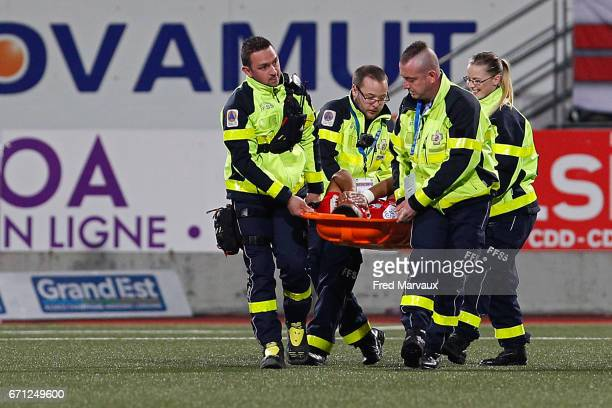 Youssef Ait Bennasser of Nancy leave the pitch injured during the Ligue 1 match between AS NancyLorraine and Olympique de Marseille at Stade Marcel...