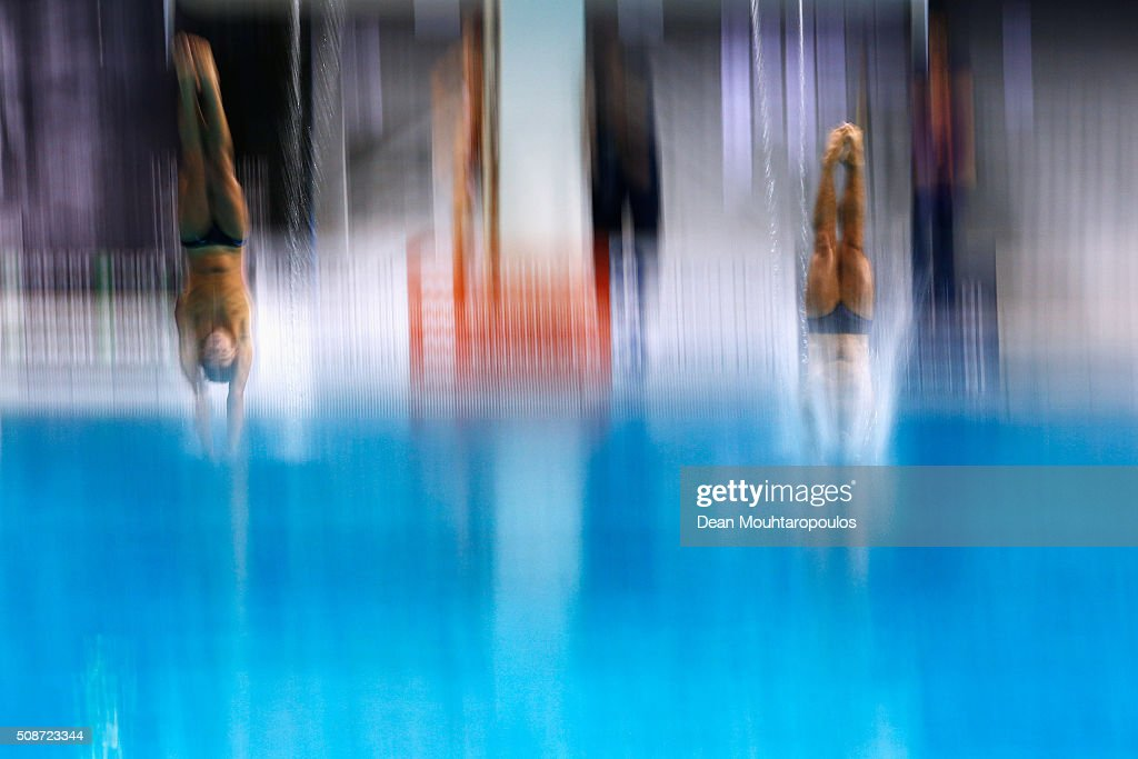 Youssef Amr Ezzat and Omar Gehad Soudan of Egypt compete in the Synchronised Men 3m springboard competition during the Senet Diving Cup held at Pieter van den Hoogenband Swimming Stadium on February 6, 2016 in Eindhoven, Netherlands.