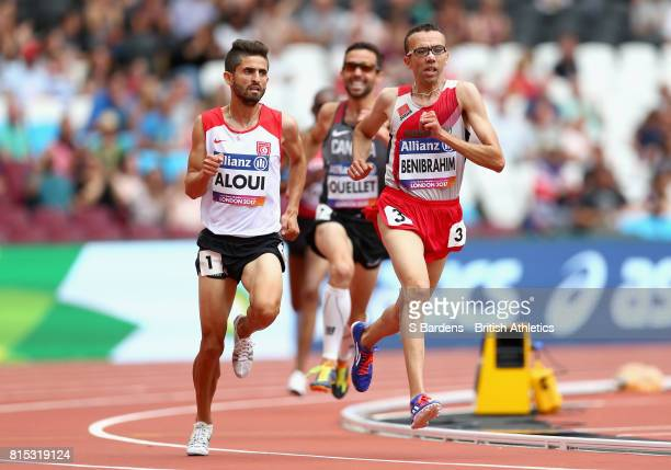 Youssef Benibrahim of Morocco competes in the Men's 5000m T13 Final during Day Three of the IPC World ParaAthletics Championships 2017 London at...