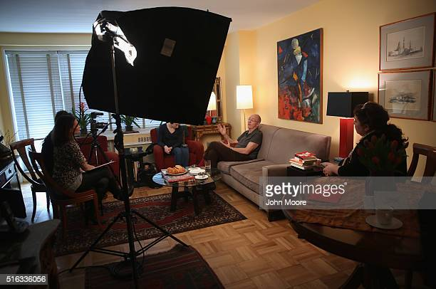 Youssef Cohen speaks with a video crew for the 'death with dignity' nonprofit Compassion and Choices in his Manhattan apartment on March 16 2016 in...