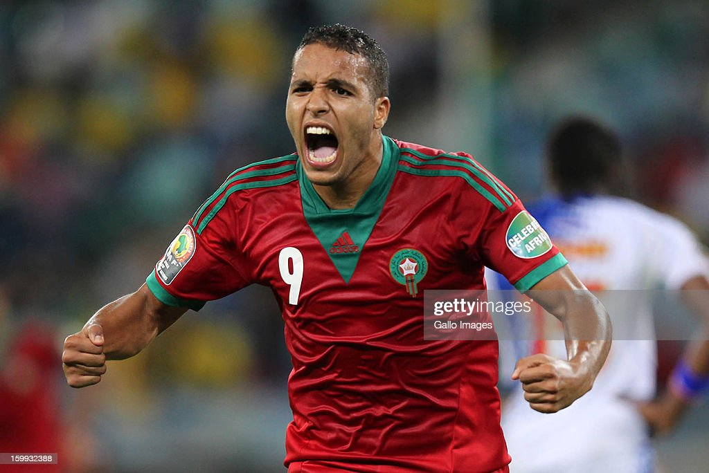Youssef el Arabi of Morocco celebrates his goal during the 2013 African Cup of Nations match between Morocco and Cape Verde Islands from Moses Mabhida Stadium on January 23, 2012 in Durban, South Africa.