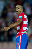 Youssef ElArabi of Granada CF celebrates scoring their opening goal from a penalty shot during the La Liga match between Granada CF and Athletic Club...