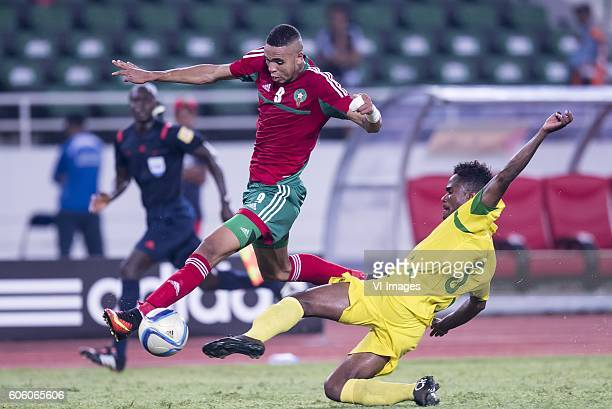 Youssef En Nesyri of Morocco Charles P Mendes Monteiro of Sao Tome e Principe during the Africa Cup of Nations match between Morocco and Sao Tome E...