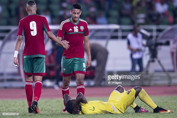 Youssef En Nesyri of Morocco Mourad Batna of Morocco Jordao Encarnacao Tackey Diogo of Sao Tome e Principe during the Africa Cup of Nations match...