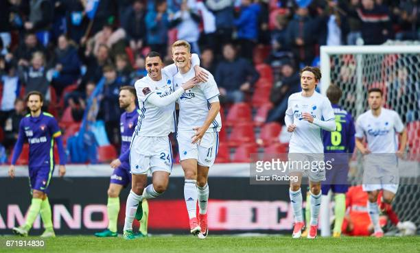 Youssef Toutouh and Andreas Cornelius of FC Copenhagen celebrate after scoring their first goal during the Danish Alka Superliga match between FC...