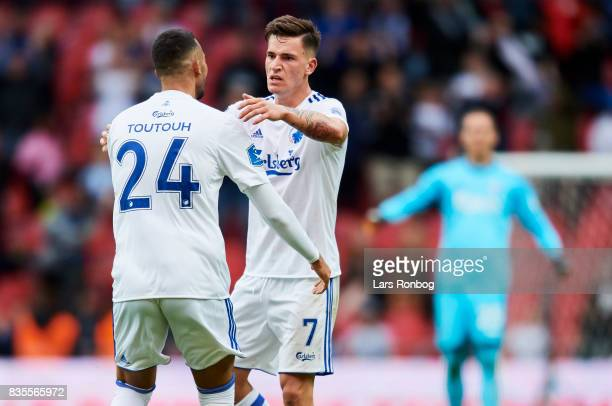 Youssef Toutouh and Benjamin Verbic of FC Copenhagen celebrate after scoring their second goal during the Danish Alka Superliga match between FC...
