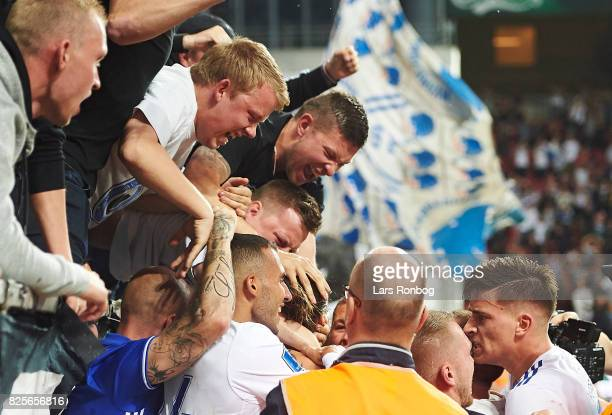 Youssef Toutouh and Benjamin Verbic of FC Copenhagen celebrates with fans after the 31 goal scored by Federico Santander during the UEFA Champions...