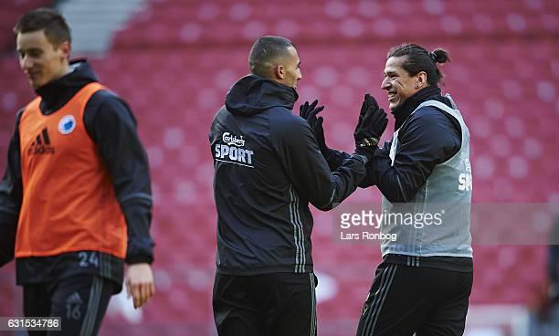 Youssef Toutouh and Federico Santander of FC Copenhagen share a joke during the FC Copenhagen training session at Telia Parken Stadium on January 12...