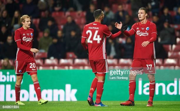 Youssef Toutouh and Julian Kristoffersen of FC Copenhagen celebrate after scoring their first goal during the Danish Cup DBU Pokalen match match...