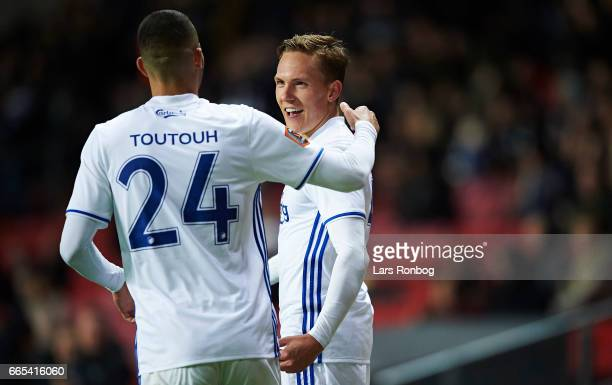 Youssef Toutouh and Ludvig Augustinsson of FC Copenhagen celebrate after scoring their second goal during the Danish cup DBU Pokalen quarterfinal...