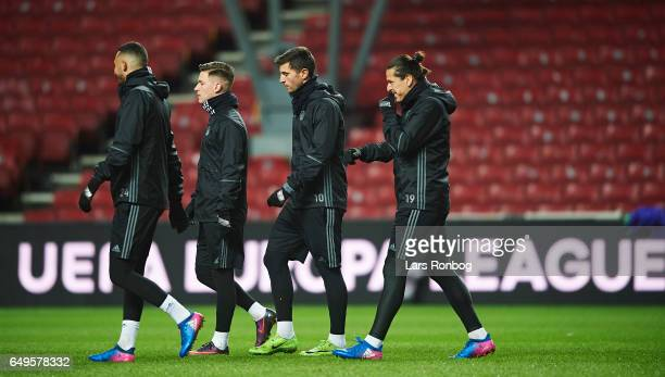 Youssef Toutouh Benjamin Verbic Andrija Pavlovic and Federico Santander of FC Copenhagen walks on the pitch during the FC Copenhagen training session...