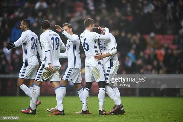 Youssef Toutouh Federico Santander Ludvig Augustinsson Jan Gregus and Andrija Pavlovic of FC Copenhagen celebrate the 30 goal during during the...