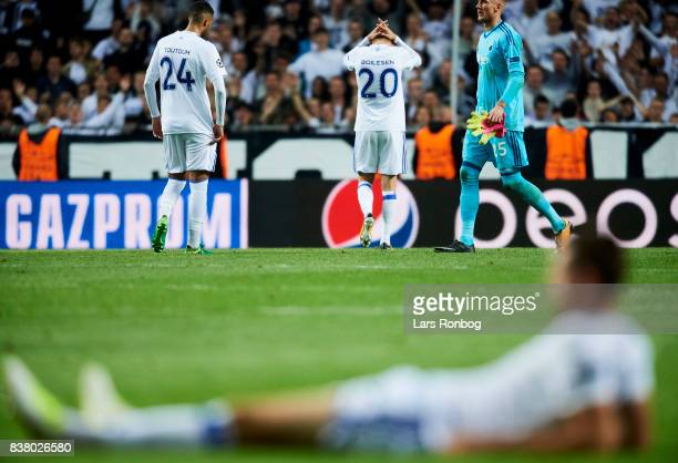 Youssef Toutouh Nicolai Boilesen and Goalkeeper Robin Olsen of FC Copenhagen looks dejected after the UEFA Champions League Playoff 2nd Leg match...