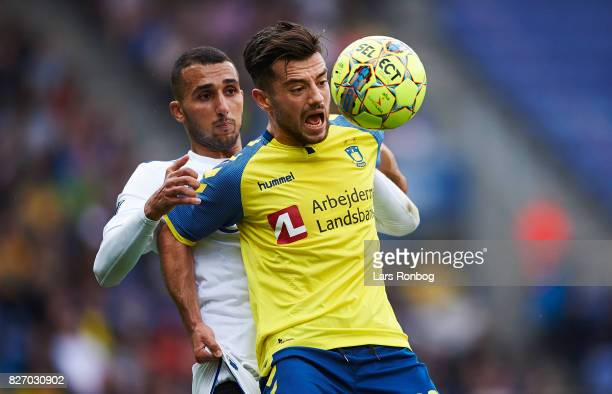 Youssef Toutouh of FC Copenhagen and Besar Halimi of Brondby IF compete for the ball during the Danish Alka Superliga match between Brondby IF and FC...