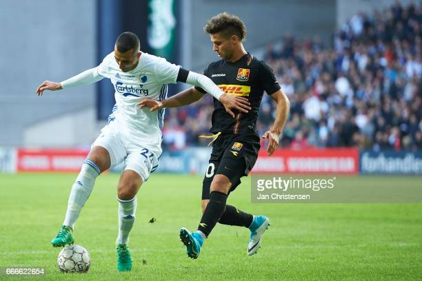Youssef Toutouh of FC Copenhagen and Emiliano Marcondes of FC Nordsjalland compete for the ball during the Danish Alka Superliga match between FC...