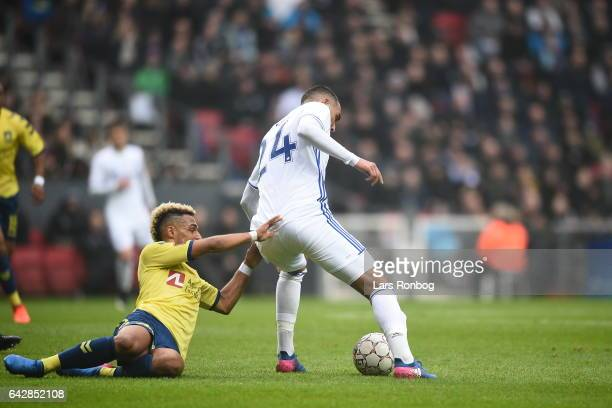 Youssef Toutouh of FC Copenhagen and Hany Mukhtar of Brondby IF compete for the ball during the Danish Alka Superliga match between FC Copenhagen and...