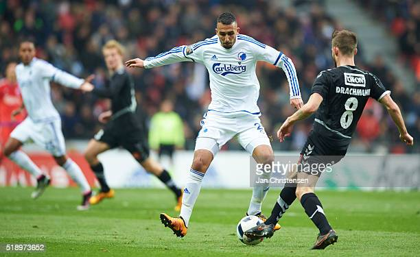 Youssef Toutouh of FC Copenhagen and Janus Drachmann of SonderjyskE compete for the ball during the Danish Alka Superliga match between FC Copenhagen...