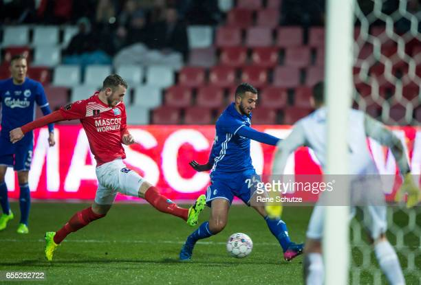 Youssef Toutouh of FC Copenhagen and Jens Martin Gammelby of Silkeborg IF the Danish Alka Superliga match between Silkeborg IF and FC Copenhagen at...