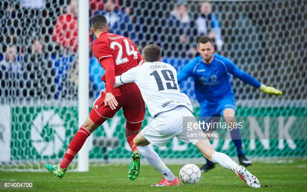 Youssef Toutouh of FC Copenhagen and Mads Greve of Vendsyssel FF compete for the ball during the Danish cup DBU Pokalen semfinal match between...