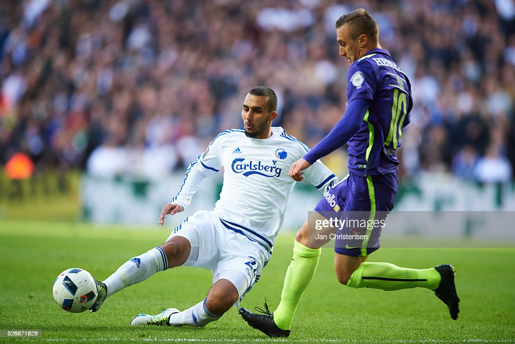 Youssef Toutouh of FC Copenhagen and Martin Pusic of FC Midtjylland compete for the ball during the Danish Alka Superliga match between FC Copenhagen and FC Midtjylland at Telia Parken Stadium on May 01, 2016 in Copenhagen, Denmark.