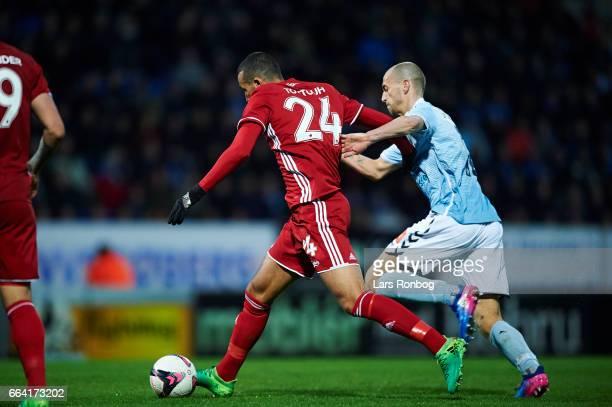 Youssef Toutouh of FC Copenhagen and Sakari Mattila of Sonderjyske compete for the ball during the Danish Alka Superliga match between Sonderjyske...