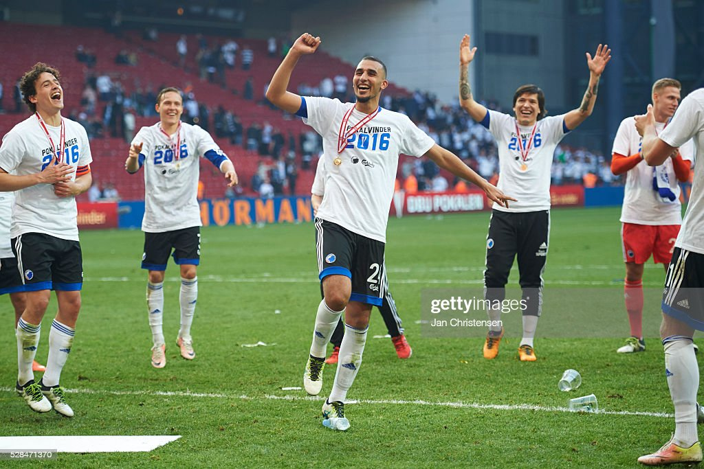 Youssef Toutouh of FC Copenhagen celebrate after the DBU Pokalen Cup Final match between AGF Arhus and FC Copenhagen at Telia Parken Stadium on May 05, 2016 in Copenhagen, Denmark.
