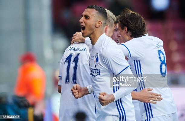 Youssef Toutouh of FC Copenhagen celebrates after scoring their second goal during the Danish Alka Superliga match between FC Copenhagen and FC...