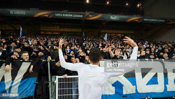 Youssef Toutouh of FC Copenhagen celebrates with the fans after the UEFA Europa League Round of 32 second leg match match between FC Copenhagen and...