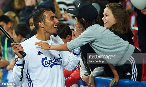 Youssef Toutouh of FC Copenhagen celebrates with young fans after the Danish Alka Superliga match between FC Copenhagen and FC Midtjylland at Telia...