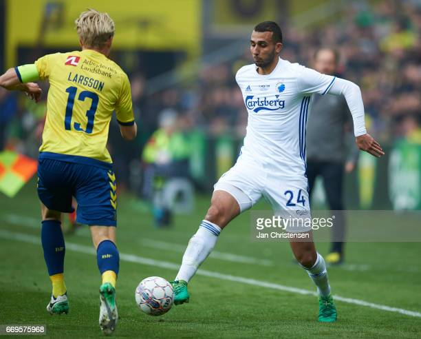 Youssef Toutouh of FC Copenhagen controls the ball during the Danish Alka Superliga match between Brondby IF and FC Midtjylland at Brondby Stadion on...