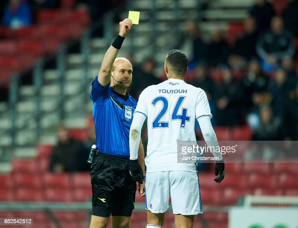 Youssef Toutouh of FC Copenhagen get a yellow card during the Danish Alka Superliga match between FC Copenhagen and Esbjerg fB at Telia Parken...