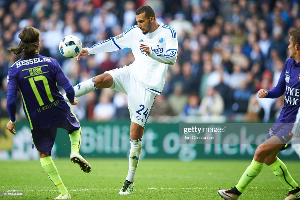 Youssef Toutouh of FC Copenhagen in action during the Danish Alka Superliga match between FC Copenhagen and FC Midtjylland at Telia Parken Stadium on May 01, 2016 in Copenhagen, Denmark.
