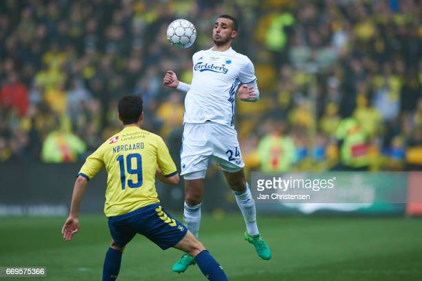 Youssef Toutouh of FC Copenhagen in action during the Danish Alka Superliga match between Brondby IF and FC Midtjylland at Brondby Stadion on April...