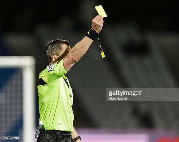 Youssef Toutouh of FC Copenhagen receives a yellow card from Referee Michael Tykgaard during the Danish Alka Superliga match between AGF Aarhus and...