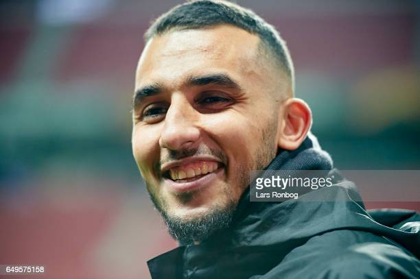 Youssef Toutouh of FC Copenhagen speaks to the media prior to the FC Copenhagen training session prior to the UEFA Europa League match at Telia...