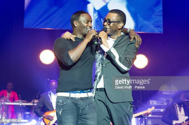 Youssou NDour and Akon perform at AccorHotels Arena on November 18 2017 in Paris France