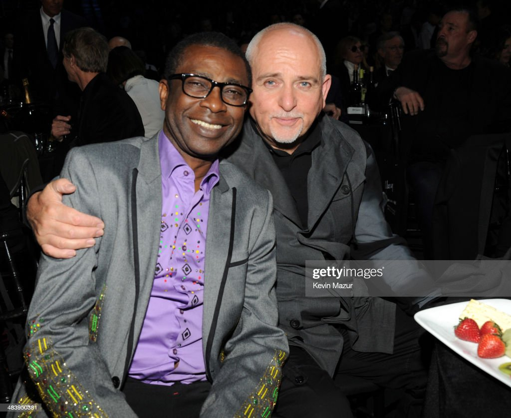 Youssou N'Dour and Peter Gabriel attend the 29th Annual Rock And Roll Hall Of Fame Induction Ceremony at Barclays Center of Brooklyn on April 10, 2014 in New York City.
