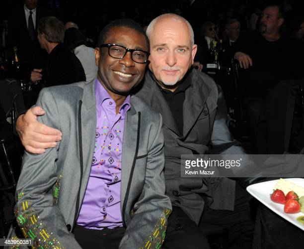 Youssou N'Dour and Peter Gabriel attend the 29th Annual Rock And Roll Hall Of Fame Induction Ceremony at Barclays Center of Brooklyn on April 10 2014...
